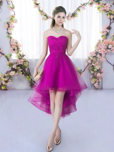 High Low Fuchsia Quinceanera Court of Honor Dress Sweetheart Sleeveless Lace Up