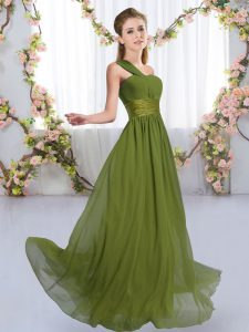 Olive Green Sleeveless Chiffon Lace Up Quinceanera Court of Honor Dress for Wedding Party