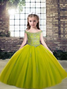 Sleeveless Lace Up Floor Length Beading and Appliques Pageant Gowns For Girls