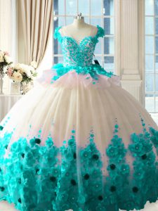 Blue And White Tulle Zipper 15 Quinceanera Dress Sleeveless Brush Train Hand Made Flower