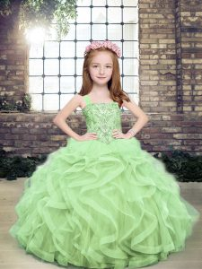 Cute Floor Length Lace Up Child Pageant Dress Yellow Green for Party and Sweet 16 and Wedding Party with Beading and Ruffles