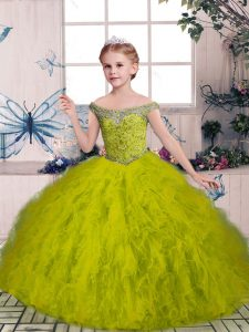 Cute Sleeveless Tulle Floor Length Lace Up Little Girl Pageant Gowns in Olive Green with Beading and Ruffles