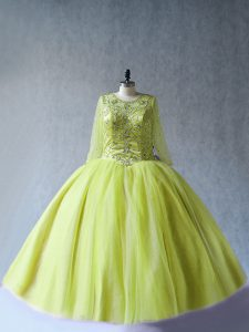 Affordable Yellow Green Long Sleeves Floor Length Beading Lace Up Quinceanera Gowns