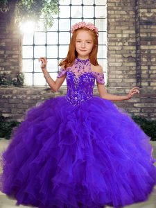 Purple Ball Gowns High-neck Sleeveless Tulle Floor Length Lace Up Beading and Ruffles Pageant Gowns For Girls