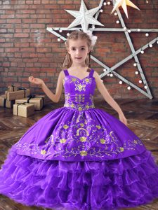 Admirable Straps Sleeveless Lace Up Little Girls Pageant Gowns Lavender Satin and Organza