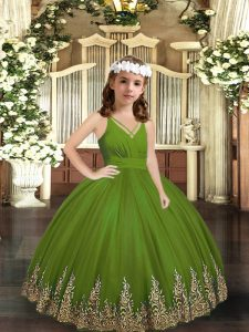 Floor Length Zipper Pageant Gowns For Girls Olive Green for Party and Wedding Party with Appliques