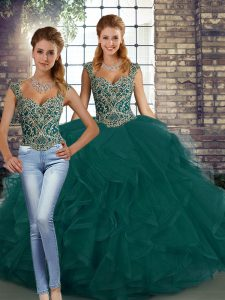 Peacock Green Two Pieces Tulle Straps Sleeveless Beading and Ruffles Floor Length Lace Up 15th Birthday Dress