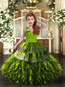Olive Green Lace Up Little Girl Pageant Dress Ruffles Sleeveless Floor Length
