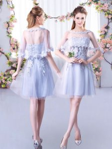 Super Sweetheart Sleeveless Quinceanera Court of Honor Dress Mini Length Lace Grey Tulle