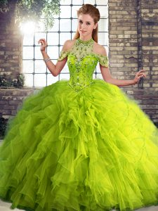 Popular Olive Green Tulle Lace Up Quinceanera Gowns Sleeveless Floor Length Beading and Ruffles