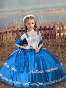 Floor Length Blue Kids Pageant Dress Straps Sleeveless Lace Up