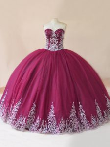 Hot Selling Burgundy Tulle Lace Up Sweetheart Sleeveless Floor Length Sweet 16 Dresses Embroidery