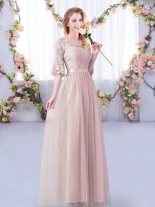 Pink Empire Tulle Scoop Half Sleeves Lace and Belt Floor Length Side Zipper Damas Dress