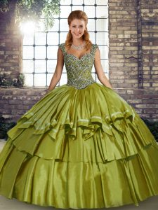 Beading and Ruffled Layers Quinceanera Dresses Olive Green Lace Up Sleeveless Floor Length