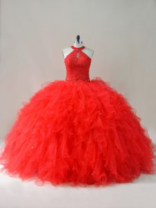 Sleeveless Floor Length Beading and Ruffles Lace Up Vestidos de Quinceanera with Red