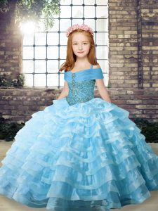 Aqua Blue Ball Gowns Beading and Ruffled Layers Girls Pageant Dresses Lace Up Organza Sleeveless