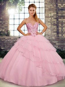Customized Tulle Sleeveless Sweet 16 Quinceanera Dress Brush Train and Beading and Ruffled Layers