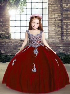 Cheap Red Ball Gowns Tulle Straps Sleeveless Appliques Floor Length Lace Up Girls Pageant Dresses