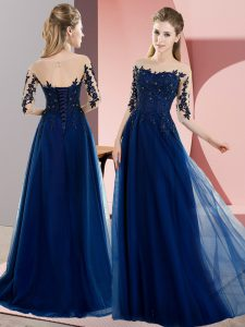 Luxury Floor Length Navy Blue Quinceanera Court Dresses Bateau Half Sleeves Lace Up