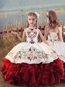 White And Red Sleeveless Embroidery and Ruffles Floor Length Kids Formal Wear