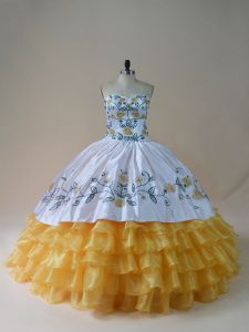 Floor Length Yellow And White 15 Quinceanera Dress Organza Sleeveless Embroidery and Ruffled Layers