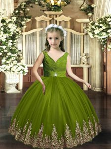 Gorgeous Olive Green Sleeveless Floor Length Embroidery Backless Pageant Gowns For Girls
