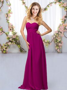 Fashionable Sweetheart Sleeveless Criss Cross Quinceanera Court of Honor Dress Fuchsia Chiffon