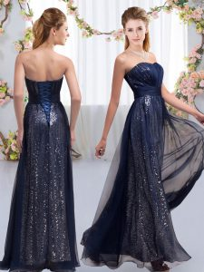 Custom Made Navy Blue Empire Sequins Dama Dress Lace Up Chiffon and Sequined Sleeveless Floor Length