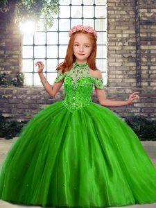 Floor Length Green Kids Pageant Dress Off The Shoulder Sleeveless Lace Up
