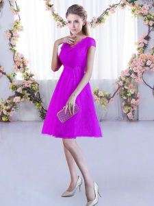 Affordable Fuchsia V-neck Neckline Lace Dama Dress for Quinceanera Cap Sleeves Lace Up