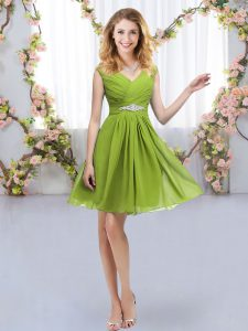 Empire Vestidos de Damas Olive Green Off The Shoulder Chiffon Sleeveless Mini Length Zipper