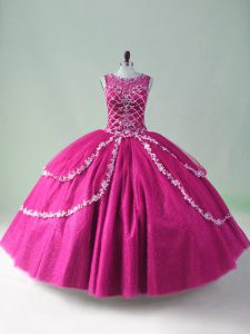 Attractive Floor Length Zipper Quinceanera Dress Fuchsia for Sweet 16 and Quinceanera with Beading and Appliques