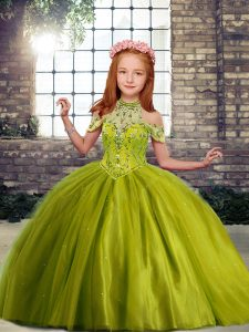 Olive Green High-neck Lace Up Beading Little Girls Pageant Dress Wholesale Sleeveless