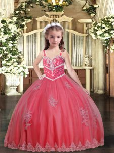Sleeveless Floor Length Beading and Appliques Lace Up Little Girls Pageant Gowns with Watermelon Red