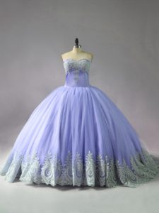 Classical Lavender Sweet 16 Dress Sweet 16 and Quinceanera with Appliques Sweetheart Sleeveless Court Train Lace Up