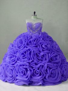 Flirting Lavender Sweetheart Neckline Beading Quinceanera Gowns Sleeveless Lace Up