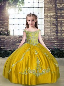 Custom Made Olive Green Sleeveless Beading Floor Length Little Girls Pageant Dress Wholesale