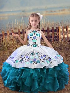 Floor Length Teal Little Girl Pageant Dress Scoop Sleeveless Lace Up