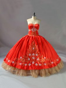Top Selling Sweetheart Sleeveless 15th Birthday Dress Floor Length Embroidery Red Organza