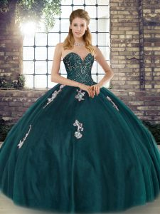 Best Selling Sleeveless Floor Length Beading and Appliques Lace Up Quinceanera Gown with Peacock Green