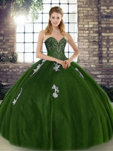 Gorgeous Tulle Sweetheart Sleeveless Lace Up Beading and Appliques Sweet 16 Dresses in Olive Green