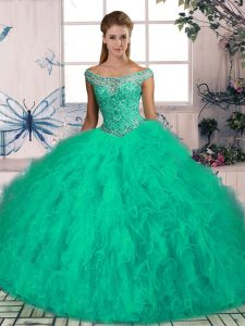 Traditional Lace Up Quinceanera Gown Turquoise for Sweet 16 with Beading and Ruffles Brush Train
