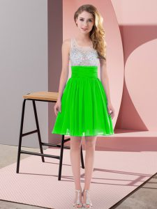 Superior Scoop Sleeveless Quinceanera Court Dresses Mini Length Beading Green Chiffon
