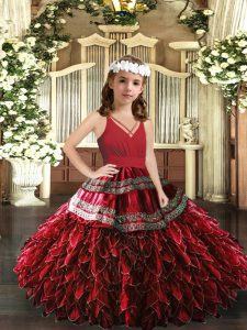 High End Red Sleeveless Appliques and Ruffles Floor Length Girls Pageant Dresses