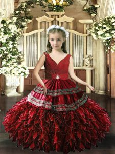 Sleeveless Floor Length Beading and Appliques and Ruffles Backless Little Girls Pageant Gowns with Red