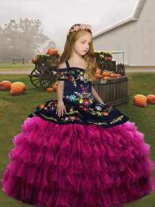 Best Organza Sleeveless Floor Length Little Girl Pageant Dress and Embroidery and Ruffles