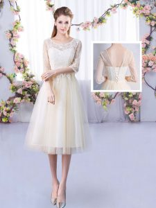 Gorgeous Champagne Quinceanera Dama Dress Wedding Party with Lace Scoop Half Sleeves Lace Up