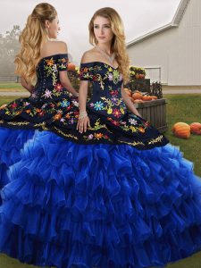 Cheap Blue And Black Ball Gowns Organza Off The Shoulder Sleeveless Embroidery and Ruffled Layers Floor Length Lace Up 15 Quinceanera Dress