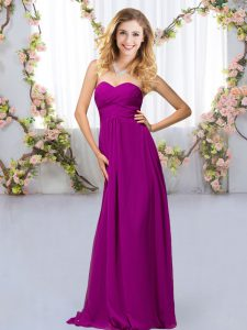 Purple Sleeveless Floor Length Beading Criss Cross Dama Dress
