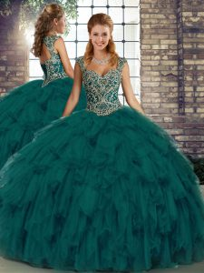 Eye-catching Peacock Green Organza Lace Up Straps Sleeveless Floor Length Sweet 16 Dress Beading and Ruffles